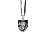 Chisel Stainless Steel Antiqued Cross Shield Pendant Necklace style: SRN87324