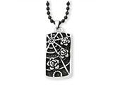 Chisel Stainless Steel Spider Web W/ Flowers and Cz Antiqued Necklace style: SRN87524