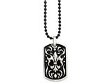 Chisel Stainless Steel Antiqued Fleur De Lis Dog Tag  Necklace style: SRN87724