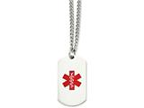 Chisel Stainless Steel Polished Dog Tag Medical Pendant 30in Necklace style: SRN90830