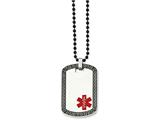 Chisel Stainless Steel Dog Tag W/greek Key Edge  Medical Necklace style: SRN91030