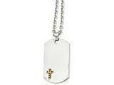 Chisel Stainless Steel 14k W/sapphires Cross Dog Tag Necklace style: SRN91424