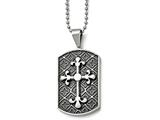 Chisel Stainless Steel Black Enamel and Cross Dog Tag Necklace style: SRN93022