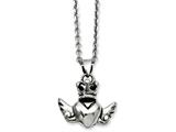 Chisel Stainless Steel Heart With Crown and Wings 20in W/ext Necklace style: SRN93520