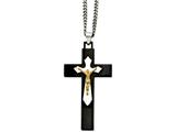 Chisel Stainless Steel Black and Yellow Ip-plated Crucifix Pend Necklace style: SRN93924