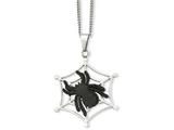 Chisel Stainless Steel Ip Black-plated Spider and Polished Web Necklace style: SRN94122