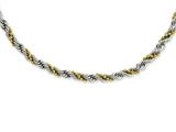 Chisel Stainless Steel Yellow Ip-plated Ball and Rope Twisted 18in Necklace style: SRN95218
