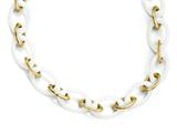 Chisel Stainless Steel Yellow Ip-plated and White Ceramic 20in Necklace style: SRN96220