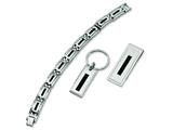 Chisel Stainless Steel Enameled 8.5 inche Bracelet, Money Clip and Key Chain Set