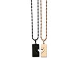 Chisel Stainless Steel Black Ip-plated and Pink Ip-plated Necklace Set style: SRSET2522