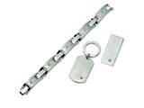 Chisel Stainless Steel Brushed 8.25 inche Bracelet, Money Clip and Key Chain Set