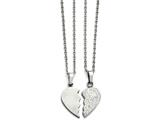Chisel Stainless Steel 1/2  Heart Brushed and 1/2 Heart Crystal Necklace Set style: SRSET3020