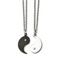 Chisel Stainless Steel 1/2 Black Ip-plated Yin W/cz and 1/2 Yang Necklace Set style: SRSET3120
