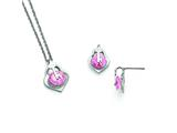 Chisel Stainless Steel Polished W/pink CZ Necklace and Earring Set style: SRSET32