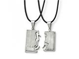 Chisel Stainless Steel Polished/brushed Cz Love Music Halves Necklace Set style: SRSET3520