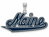 LogoArt Sterling Silver University Of Maine Xl Enamel Pendant - Chain Included style: SS004UME