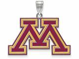 LogoArt Sterling Silver University Of Minnesota Large Enamel Pendant - Chain Included style: SS022UMN