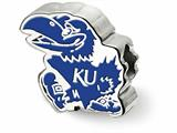 LogoArt Sterling Silver The University Of Kansas Jayhawk Enameled Logo Bead Charm style: SS500UKS