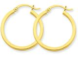 14k 2mm Square Tube Hoop Earrings style: T1077