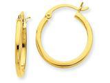 14k 2mm Square Tube Hoop Earrings style: T1078