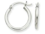 14k White Gold 2mm Round Hoop Earrings style: T1123