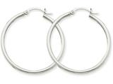 14k White Gold 2mm Round Hoop Earrings style: T825