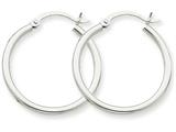14k White Gold 2mm Round Hoop Earrings style: T827