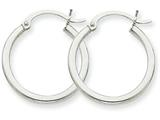 14k White Gold 2mm Round Hoop Earrings style: T828