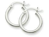 14k White Gold 2mm Round Hoop Earrings style: T829