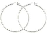 14k White Gold 2mm Round Hoop Earrings style: T834