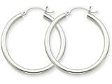 14k White Gold 2.5mm Round Hoop Earrings style: T838