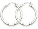 14k White Gold 2.5mm Round Hoop Earrings style: T838