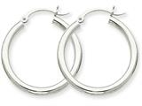 14k White Gold 2.5mm Round Hoop Earrings style: T839
