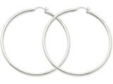 14k White Gold 2.5mm Round Hoop Earrings style: T841