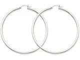 14k White Gold 2.5mm Round Hoop Earrings style: T842