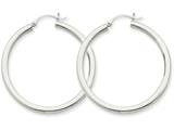 14k White Gold 3mm Round Hoop Earrings style: T847