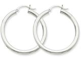 14k White Gold 3mm Round Hoop Earrings style: T848
