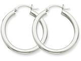 14k White Gold 3mm Round Hoop Earrings style: T849