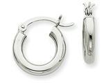 14k White Gold 3mm Round Hoop Earrings style: T852