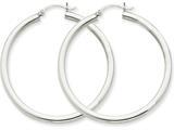 14k White Gold 3mm Round Hoop Earrings style: T853