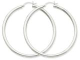 14k White Gold 3mm Round Hoop Earrings style: T855