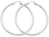 14k White Gold 3mm Round Hoop Earrings style: T856