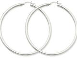 14k White Gold 3mm Round Hoop Earrings style: T857