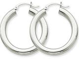 14k White Gold 4mm X 30mm Tube Hoop Earrings style: T860
