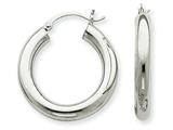 14k White Gold 4mm X 25mm Tube Hoop Earrings style: T861