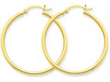 14k Polished 2mm Round Hoop Earrings style: T913