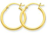 14k Polished 2mm Round Hoop Earrings style: T916