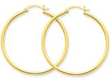 14k Polished 2mm Round Hoop Earrings style: T919