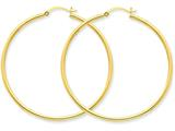 14k Polished 2mm Round Hoop Earrings style: T921