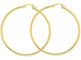 14k Polished 2mm Round Hoop Earrings style: T922